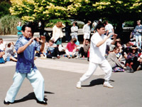 Professor Yek and Michael Yek demonstrate tai chi at Massey University in 1991